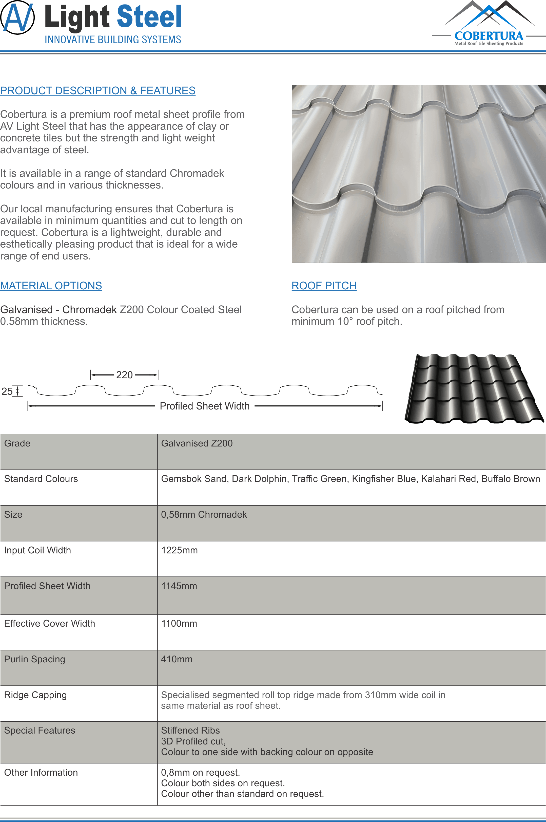 av light steel cobertura tile profile pressed metal roof Chromadek sheeting